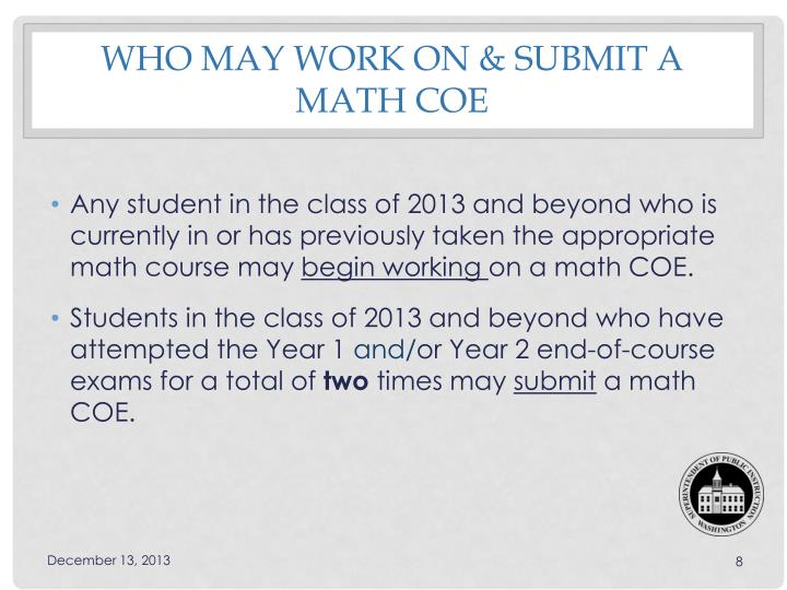 Who may work on & Submit a Math COE