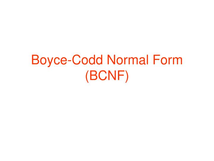 Boyce codd normal form bcnf