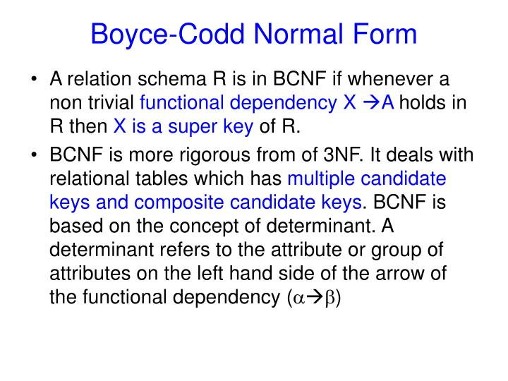 Boyce codd normal form