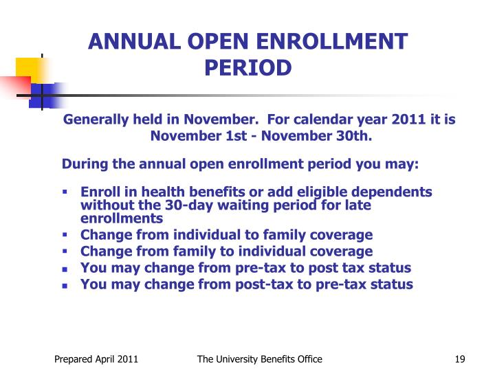 ANNUAL OPEN ENROLLMENT PERIOD