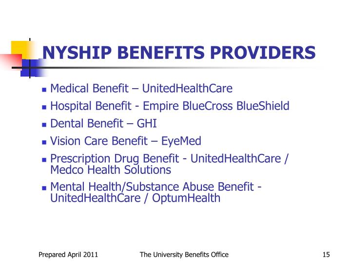 NYSHIP BENEFITS PROVIDERS