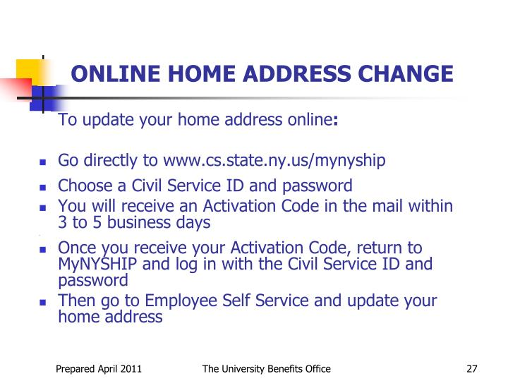 ONLINE HOME ADDRESS CHANGE