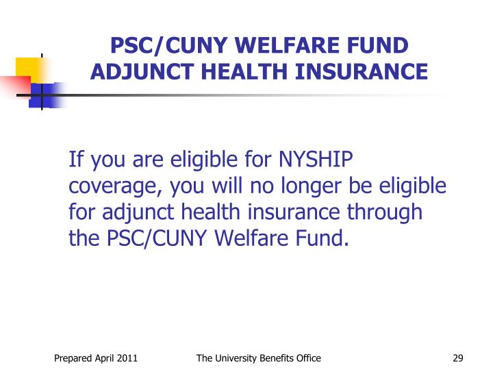 PSC/CUNY WELFARE FUND ADJUNCT HEALTH INSURANCE