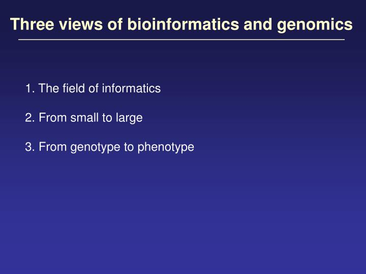 Three views of bioinformatics and genomics