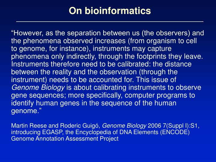 On bioinformatics
