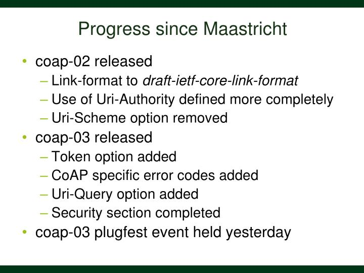Progress since maastricht