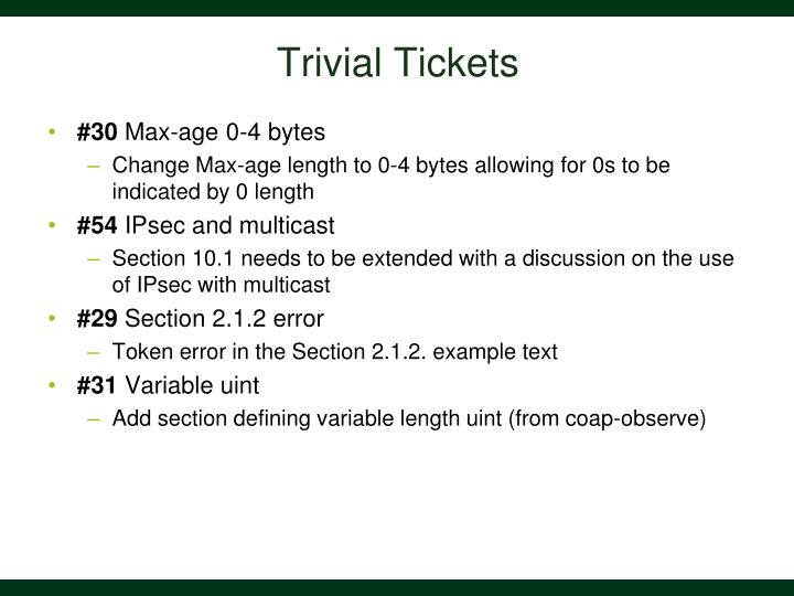 Trivial tickets