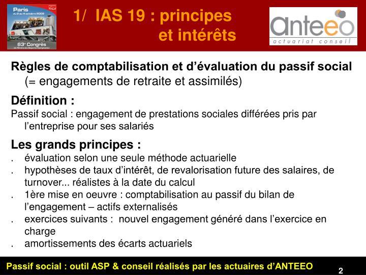 1/  IAS 19 : principes