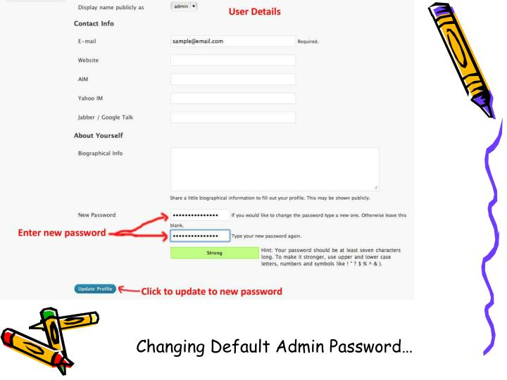 Changing Default Admin Password…