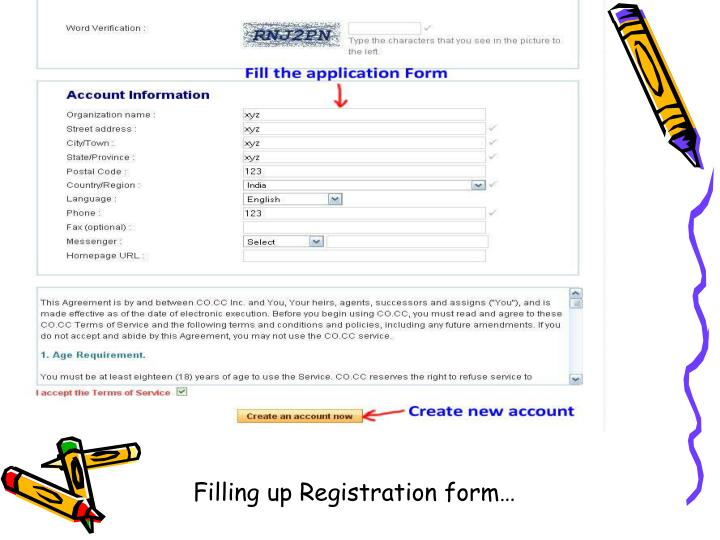 Filling up Registration form…