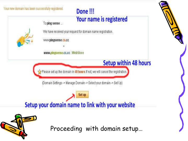 Proceeding  with domain setup…
