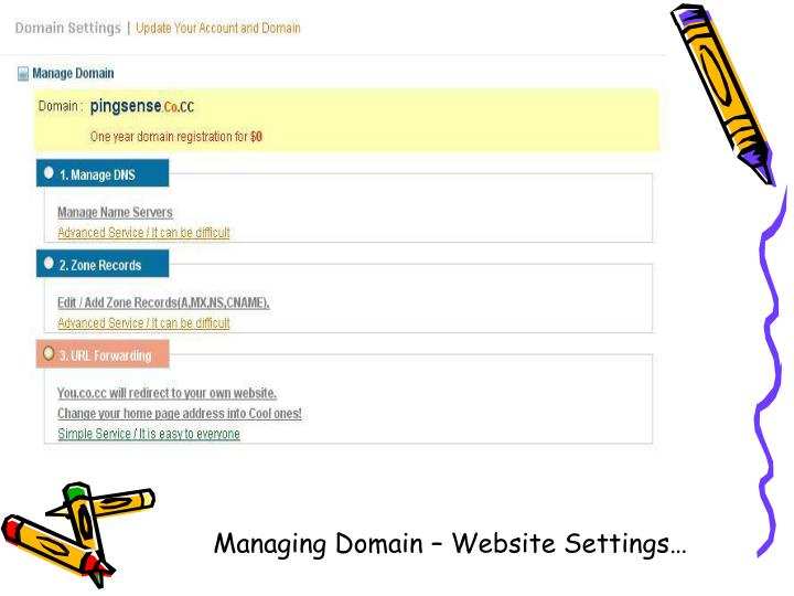 Managing Domain – Website Settings…