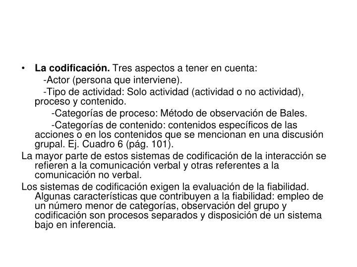 La codificación.