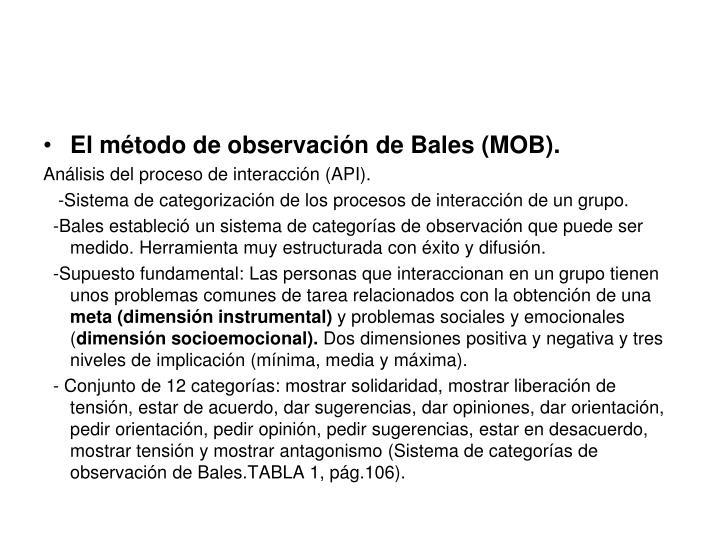 El método de observación de Bales (MOB).