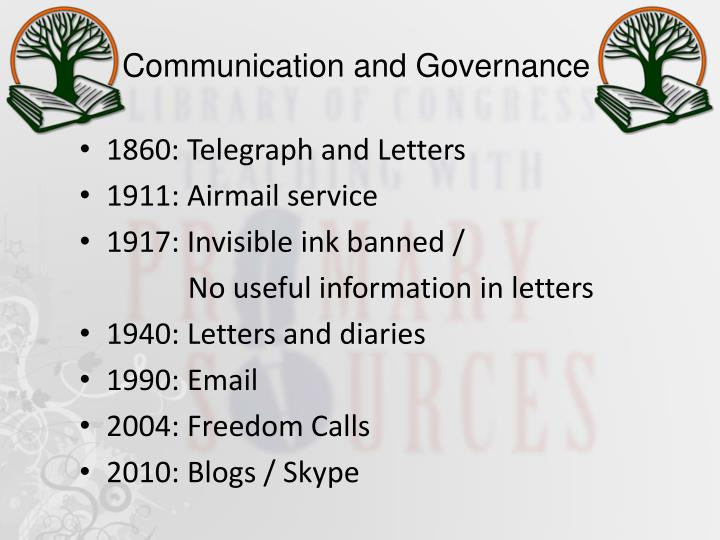 Communication and Governance