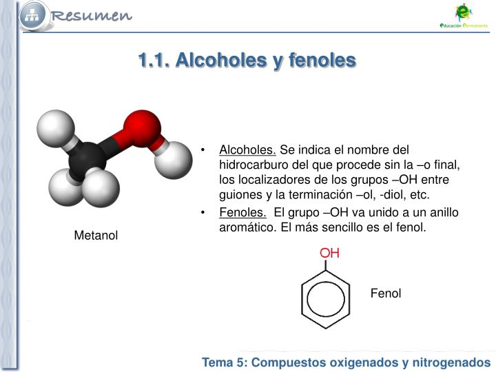 1.1. Alcoholes y fenoles