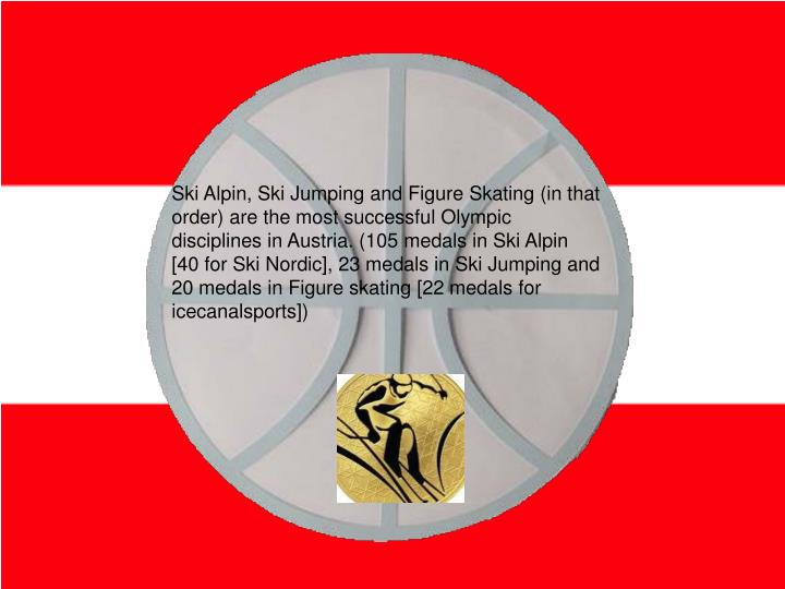 Ski Alpin, Ski Jumping and Figure Skating (in that order) are the most successful Olympic disciplines in Austria. (105 medals in Ski Alpin [40 for Ski Nordic], 23 medals in Ski Jumping and 20 medals in Figure skating [22 medals for icecanalsports])