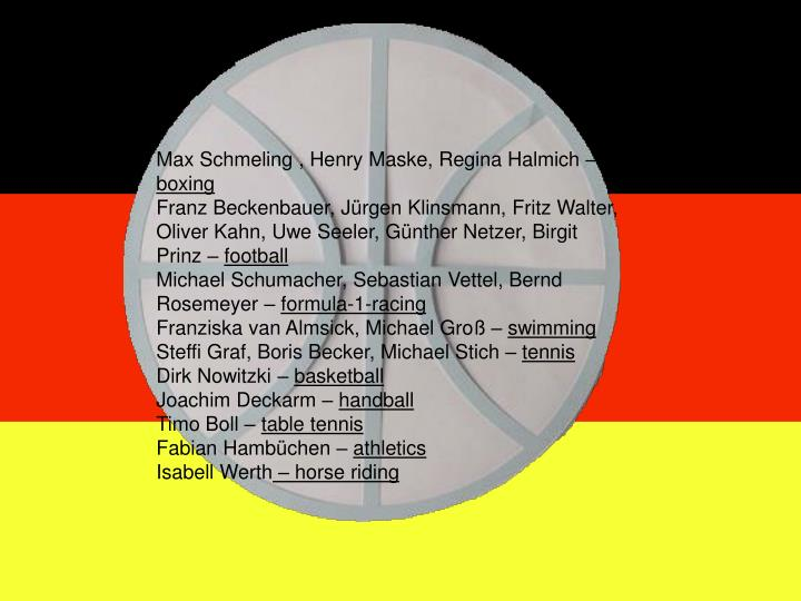 Max Schmeling , Henry Maske, Regina Halmich –