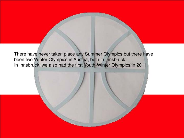 There have never taken place any Summer Olympics but there have been two Winter Olympics in Austria, both in Innsbruck.