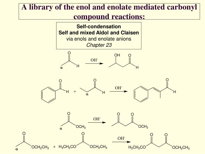A library of the enol and enolate mediated carbonyl compound reactions1