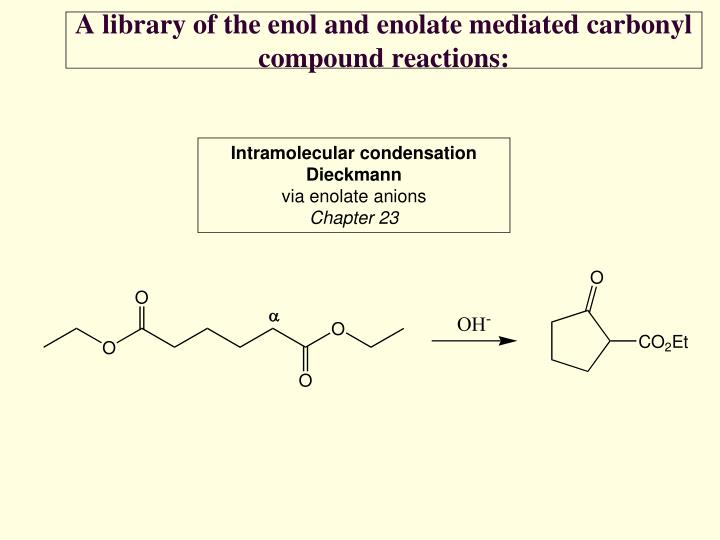 A library of the enol and enolate mediated carbonyl compound reactions2