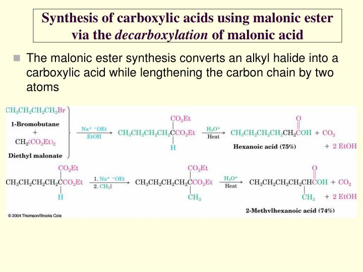 Synthesis of carboxylic acids using malonic ester via the