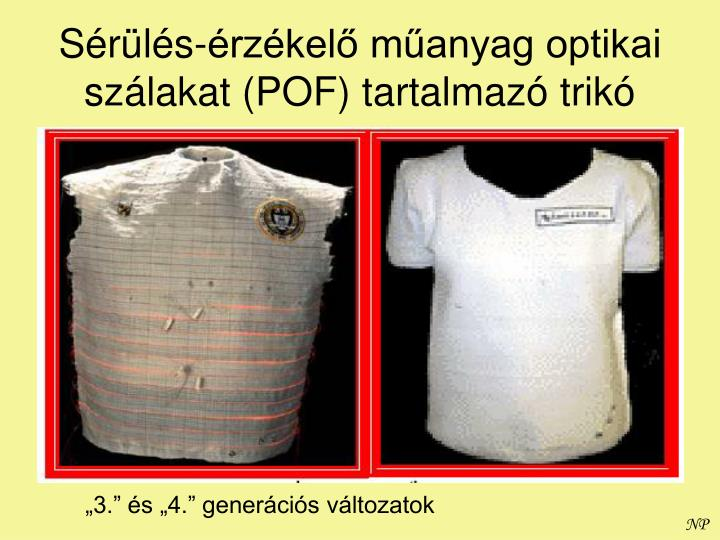 Sérülés-érzékelő műanyag optikai szálakat (POF) tartalmazó trikó