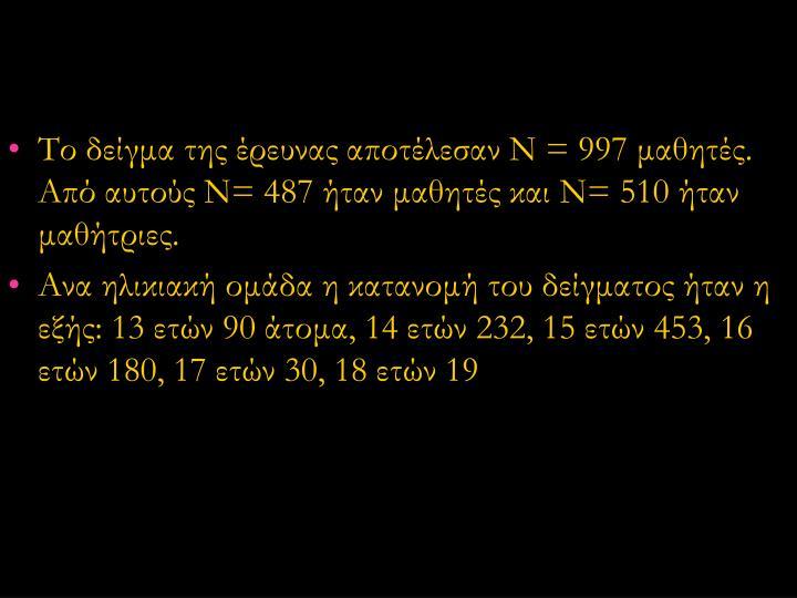Το δείγμα της έρευνας αποτέλεσαν Ν = 997 μαθητές. Από αυτούς Ν= 487 ήταν μαθητές και Ν= 510 ήταν μαθήτριες.