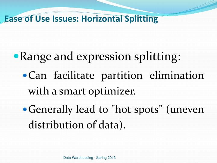 Ease of Use Issues: Horizontal Splitting