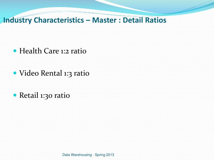 Industry Characteristics – Master : Detail Ratios