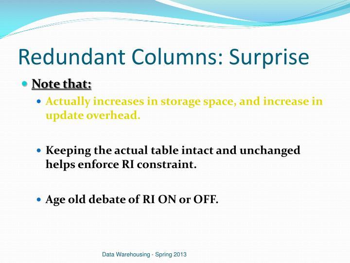 Redundant Columns: Surprise