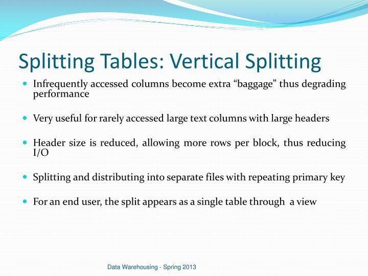 Splitting Tables: Vertical Splitting