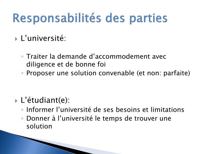 Responsabilités des parties