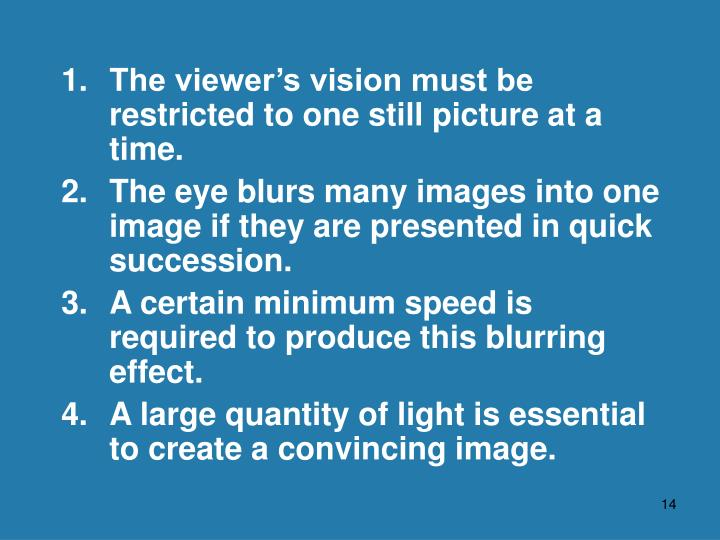 1. 	The viewer's vision must be restricted to one still picture at a time.