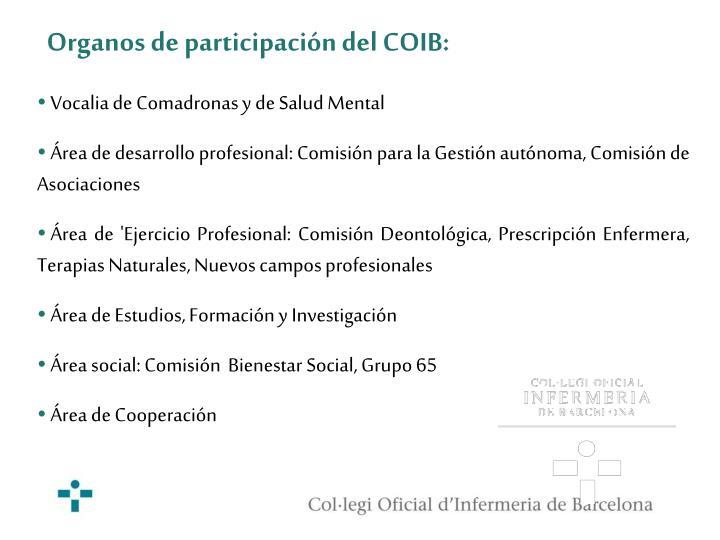 Organos de participación del COIB: