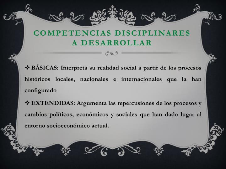 Competencias disciplinares a desarrollar