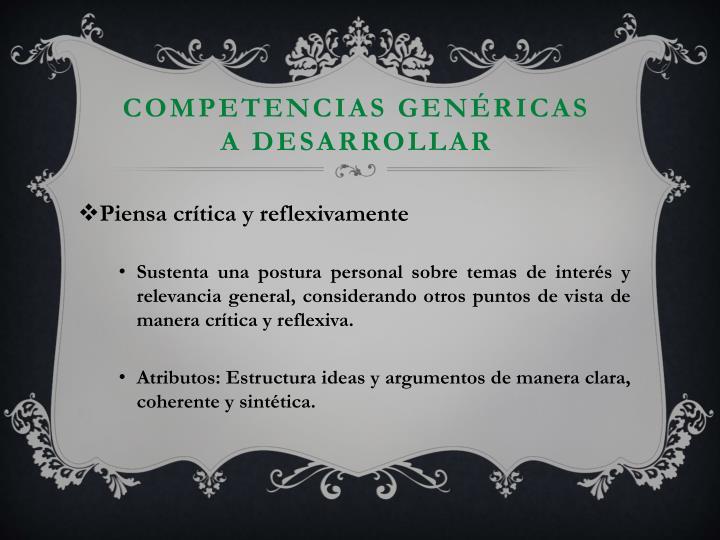 Competencias genéricas a desarrollar