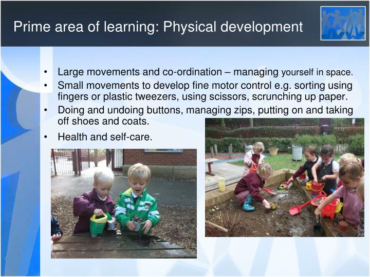 Prime area of learning: Physical development