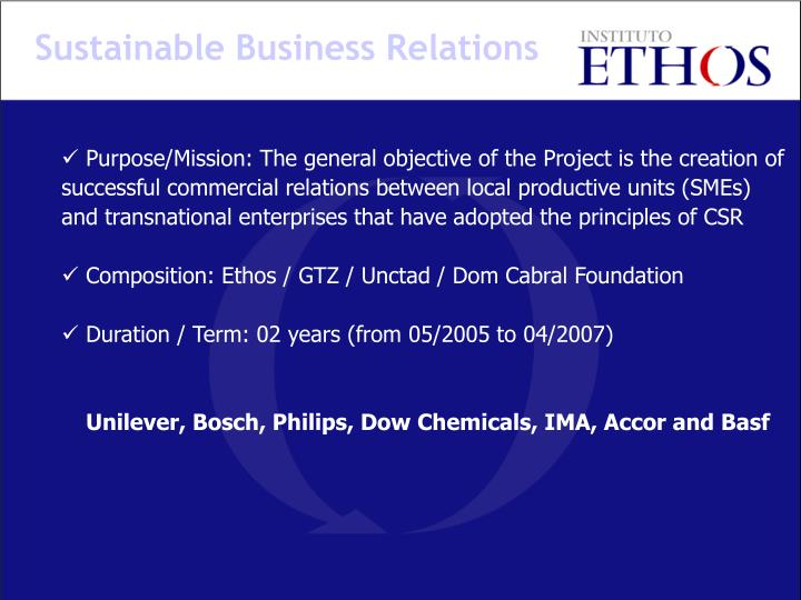 Sustainable Business Relations