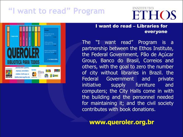 """""""I want to read"""" Program"""
