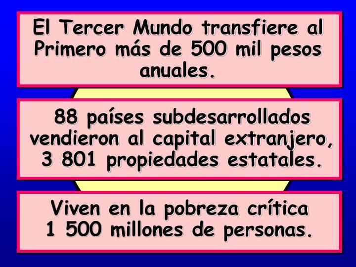 El Tercer Mundo transfiere al Primero más de 500 mil pesos anuales.