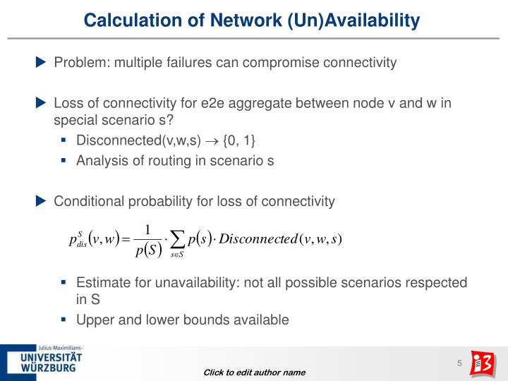 Calculation of Network (Un)Availability
