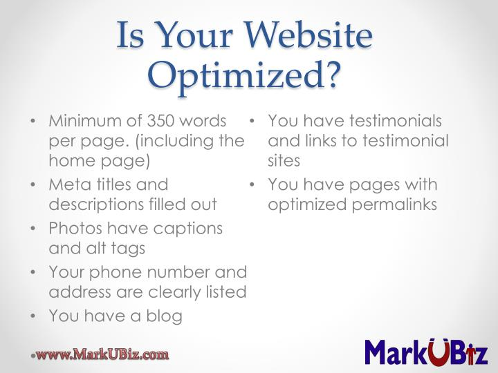 Is Your Website Optimized?