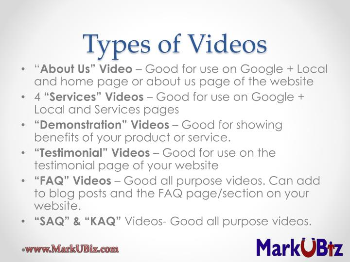 Types of Videos