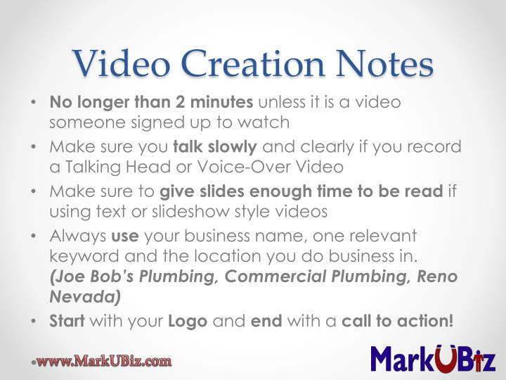 Video Creation Notes