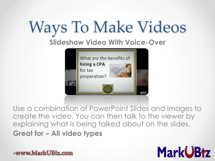 Ways To Make Videos