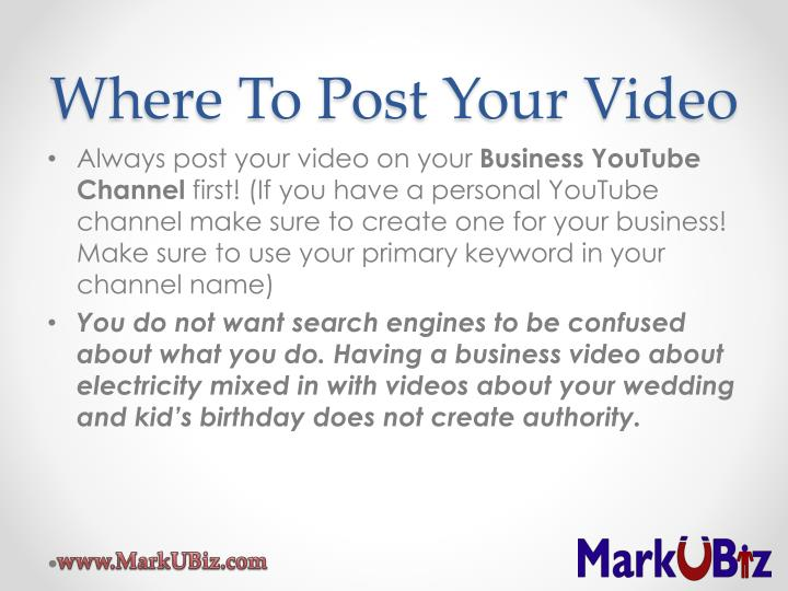 Where To Post Your Video
