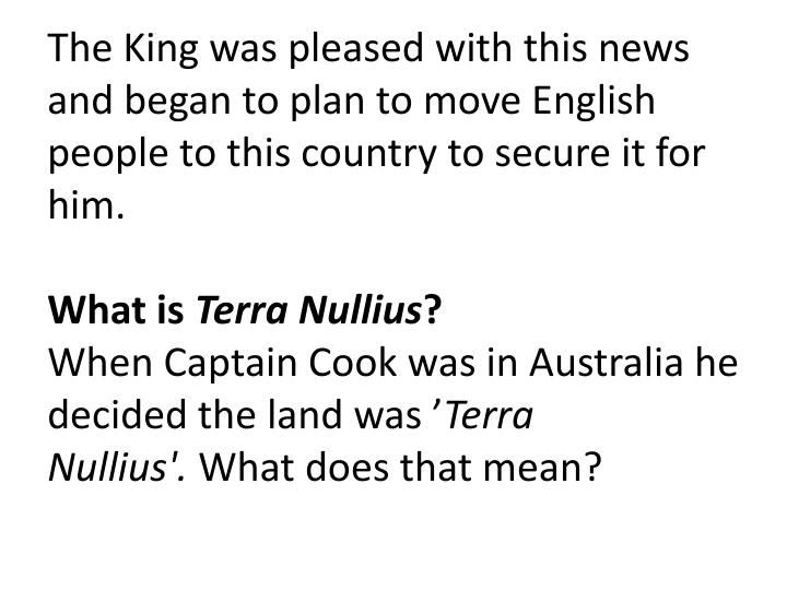 The King was pleased with this news and began to plan to move English people to this country to secure it for him.