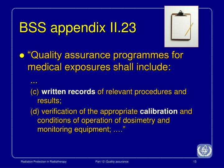 BSS appendix II.23