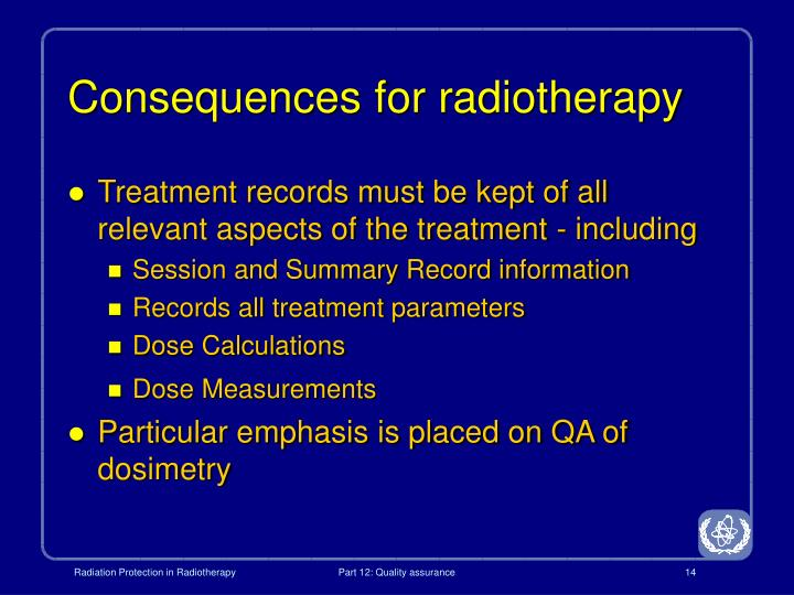 Consequences for radiotherapy